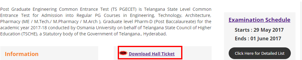 TS PGECET Hall Ticket download 2020 @ www.pgecet.tsche.ac.in