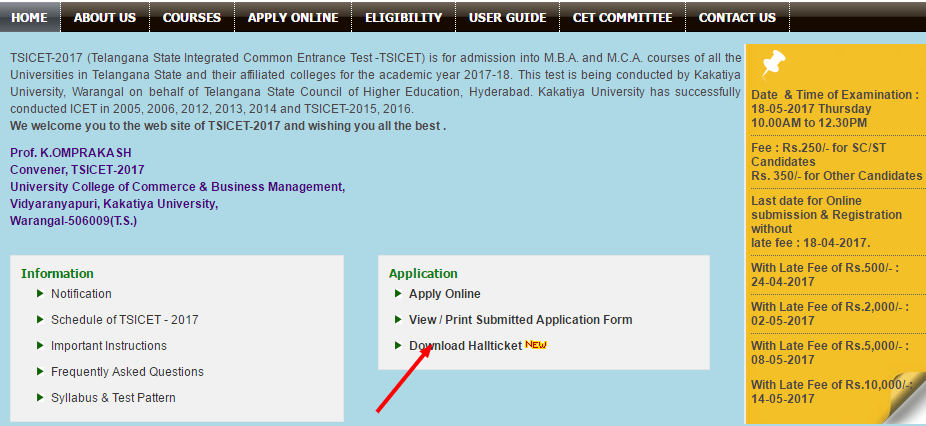 TSICET 2017 Admit Card download   icet.tsche.ac.in