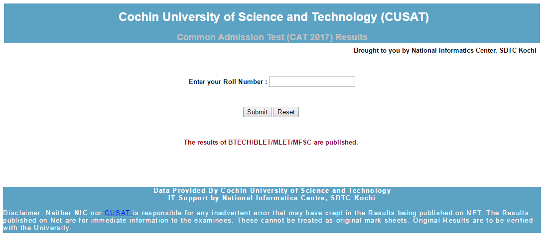 CUSAT CAT Results 2018 Download   CUSAT CAT Merit List & Cut Off marks