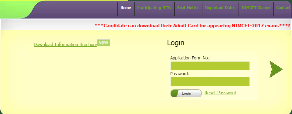 Download Steps for NIT MCA Admit Card 2017   NIMCET Hall Ticket