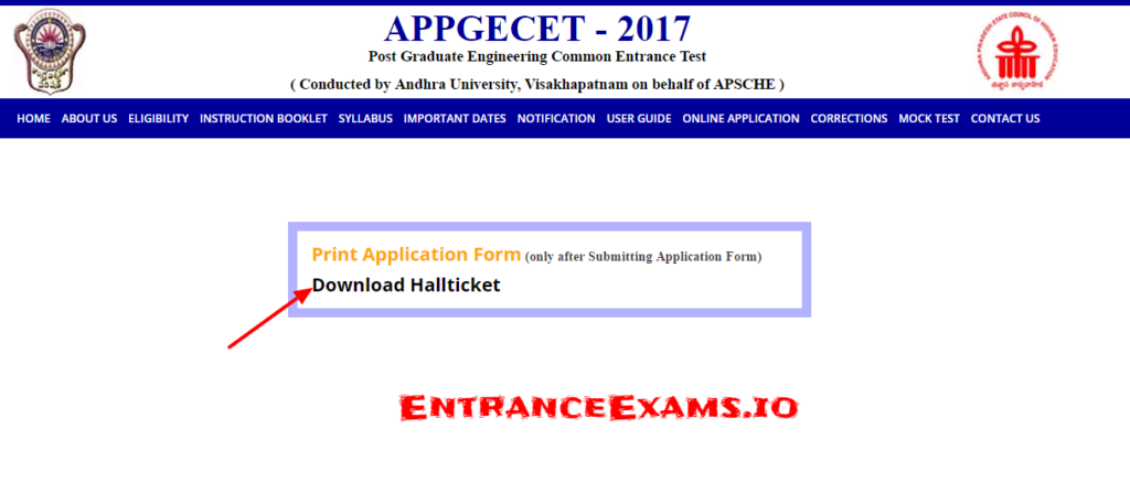 AP PGECET 2017 Hall Ticket Download   Direct Link