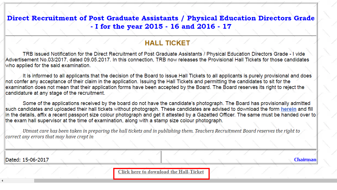 TN TRB Hall Ticket Admit card 2021 download | Tamil Nadu PG Assistant Exam date @ trb.tn.nic.in