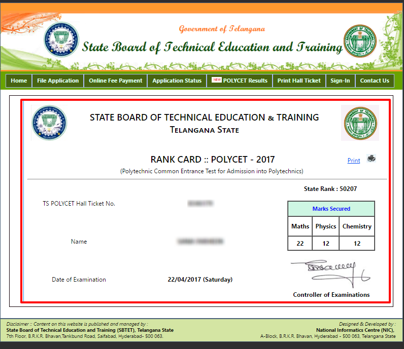 TS POLYCET Results 2017   Telangana CEEP 2017 Result, SBTET Rank Card @ polycetts.nic.in