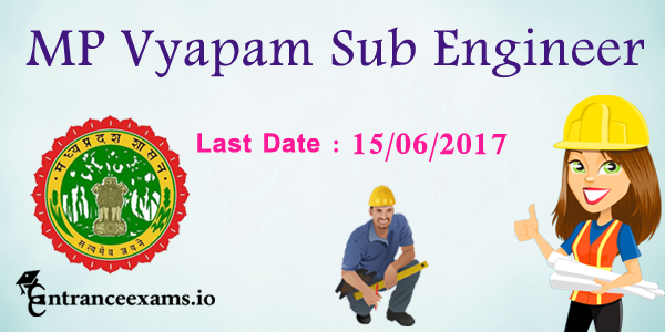 MP Vyapam Sub Engineer Recruitment 2017   1021 MPPEB Sub Engineer, Surveyor, Draughtsman posts