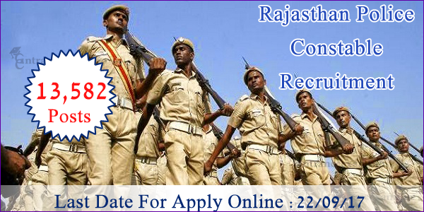 Rajasthan Police Constable Recruitment 2017 for 19082 Raj Constable Vacancies