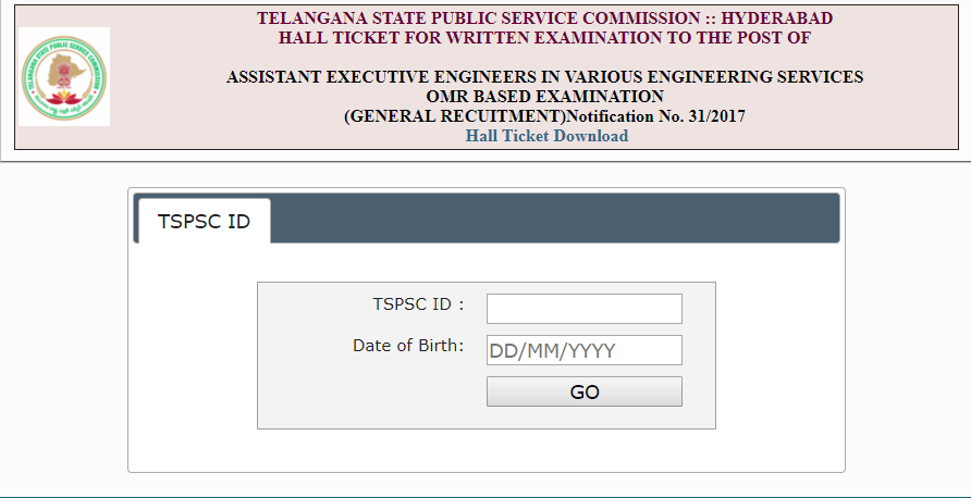 Telangana AEE Admit Card 2017   TSPSC Asst Executive Engineer (Civil) Hall Ticket Download @ tspsc.gov.in