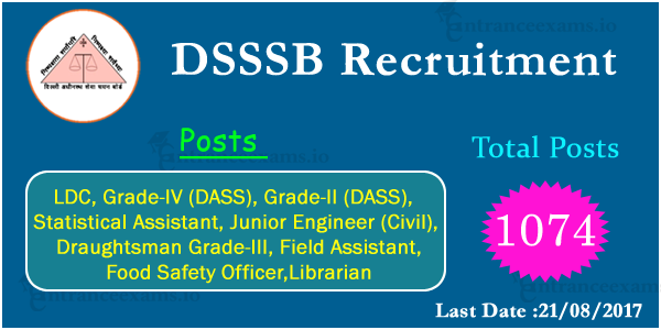 DSSSB Grade IV Statistical Assistant Recruitment 2017   Apply 1074 DSSSB Jobs