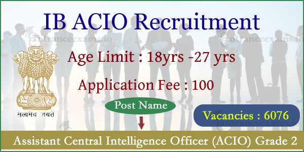 IB ACIO Recruitment 2017   MHA Assistant Central Intelligence Officer (ACIO) 1430 Jobs