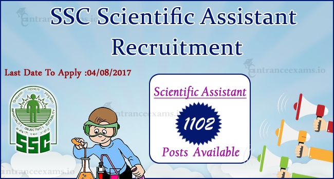 SSC Scientific Assistant Recruitment 2017   Apply Online 1102 Latest SSC MET Jobs