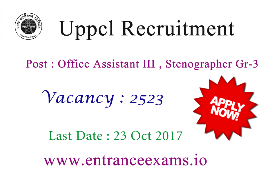 UPPCL Recruitment 2017 | 2603 office assistant, steno Gr 3