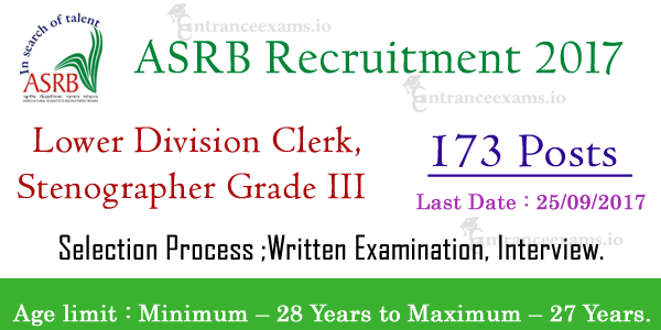 Agricultural Scientists Recruitment Board Recruitment (ASRB) 2017 | 173 Steno Gr III, LDC Posts