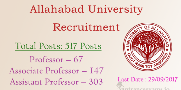 Allahabad University Assistant Professor Recruitment 2017 | 609 Faculty Jobs in Allahabad University