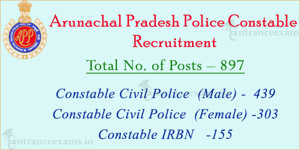 Arunachal Pradesh Police Recruitment 2017   897 Constable Civil Police Vacancies