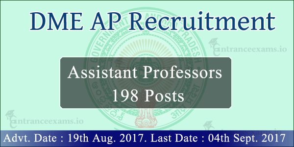 DME AP Assistant Professor Recruitment 2017 | 198 Job Openings in AP DME