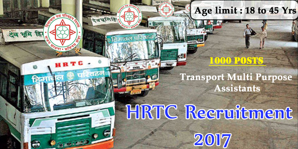 Himachal Road Transport Corporation Recruitment 2017 | Apply 1300 Transport Multi Purpose Assistant Jobs