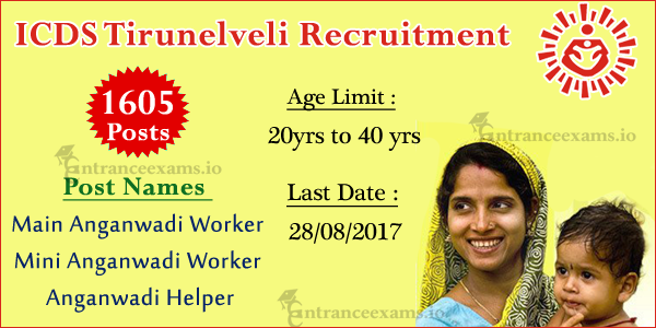 www.tirunelveli.nic.in ICDS Anganwadi Worker/Helper Recruitment 2017 | 1605 Jobs Openings in ICDS