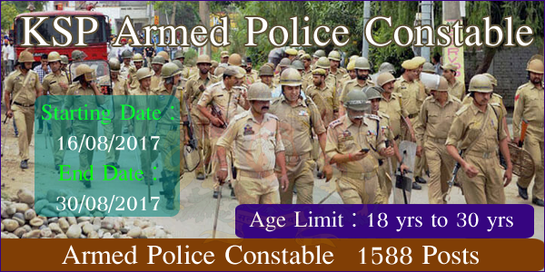 KSP 2017 Armed Police Constable Recruitment | Apply Online for 2038 APC Jobs in KSP Karnataka