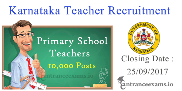 Karnataka Primary School Teachers Recruitment 2017 | Apply for 10,000 Kar TET Teacher Vacancy