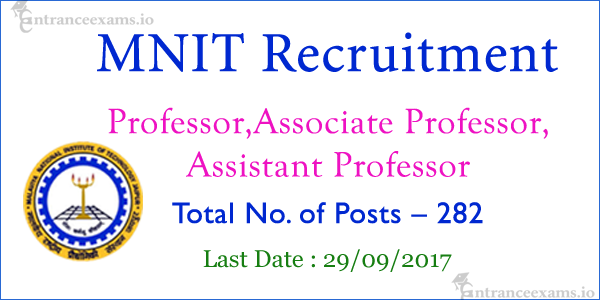 MNIT Jaipur Recruitment 2017 | Apply for 282 Professor, Asst Professor, Associate Professor Jobs in MNIT