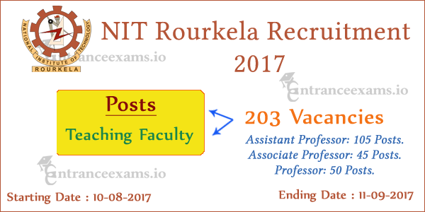NIT Rourkela Professor Recruitment 2017 | 203 Professor Jobs in nitrkl.ac.in