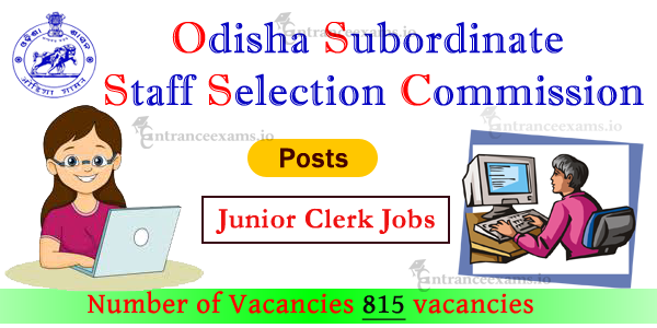 815 OSSSC Junior Clerk Recruitment 2017    Apply OSSSC Junior Clerk Cadre Posts