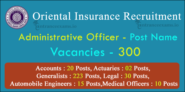 Oriental Insurance Administrative Officer Recruitment 2021 | 300 AO Jobs in OICL