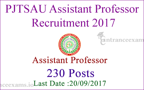 Professor Jayashankar Agricultural Notification 2017 | 230 Assistant Professor Jobs in PJTSAU