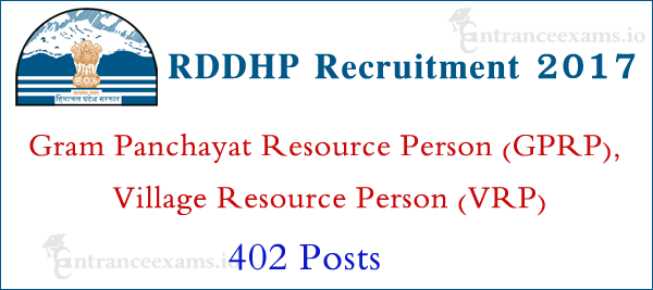 RDDHP VRP GPRP Recruitment 2017 | Apply for 402 HPRDD Village Resource Person Jobs
