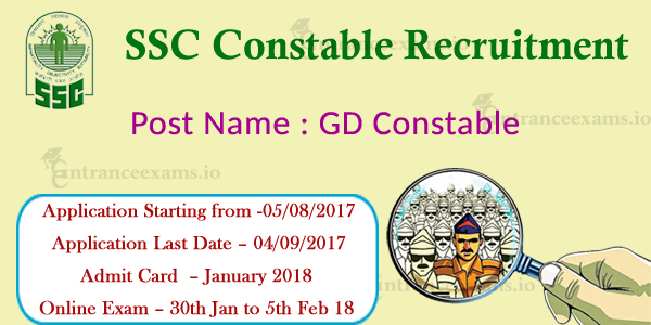 SSC GD Constable Recruitment 2017   Apply 71000 Constable GD Vacancies