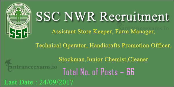 SSC North Western Region Recruitment 2017 | 66 Technical Operator, Store Keeper Jobs in SSCNWR