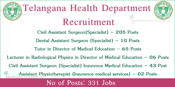 TSPSC Health Department Notification 2017   331 Telangana Health Dept Civil Assistant Surgeon Jobs