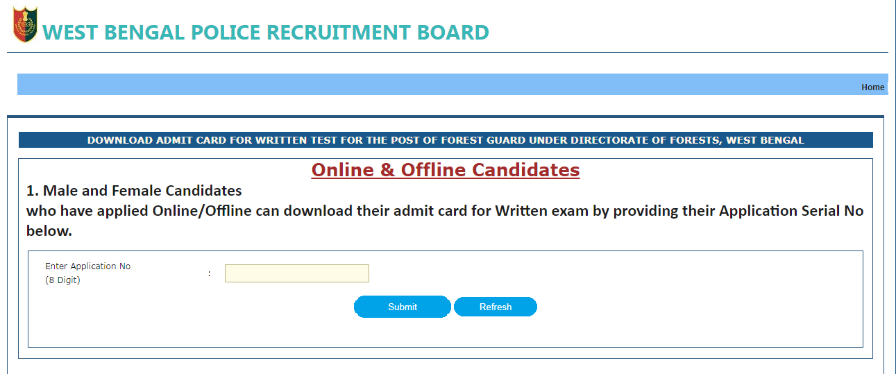 West Bengal Police Forest Guard Admit Card 2017   WBPRB Exam Date