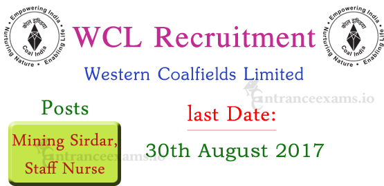 WCL Mining Sirdar Recruitment 2017 | Apply 657 Western Coalfields Limited Staff Nurse Vacancy
