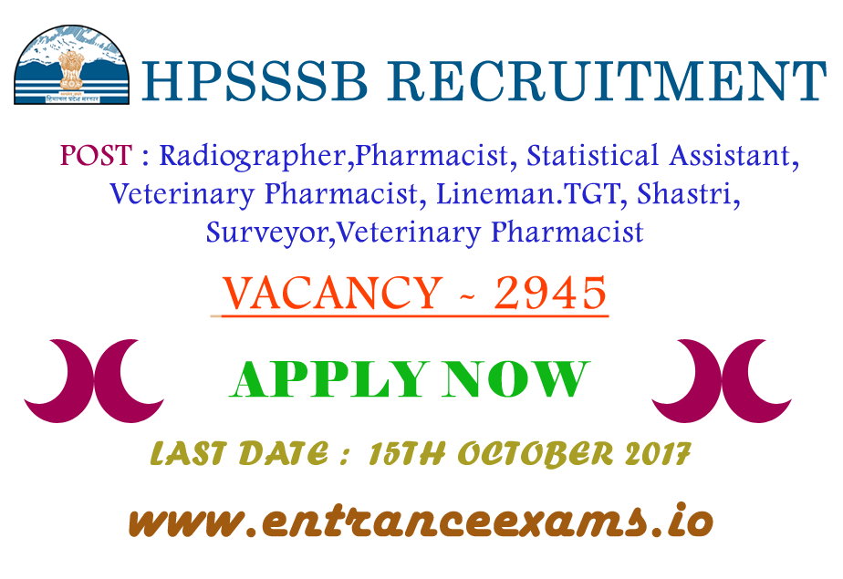 HPSSSB Hamirpur Latest Vacancy 2017 18 | 2945 HPSSSB Radiographer, Language Teacher, Jr Technician Posts @ hpsssb.hp.gov.in