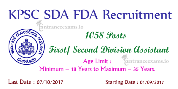 KPSC Recruitment 2017 18 FDA SDA | Apply for 1058 First/Second Division Assistant Jobs in KPSC