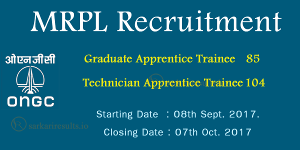 MRPL Mangalore Recruitment 2017 | Apply for 189 Graduate Apprentice, Technician Apprentice Jobs @ mrpl.co.in