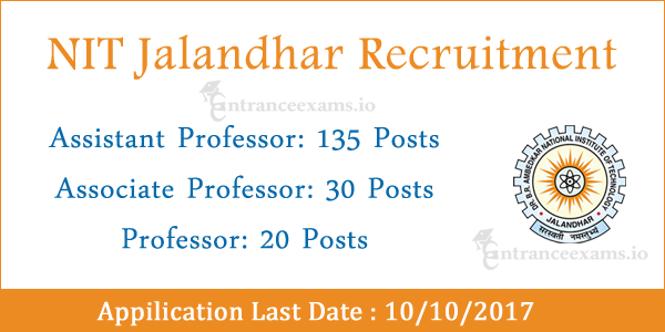 NIT Jalandhar Faculty Recruitment 2017 | 185 Assistant Professor Jobs in NIT Jalandhar @ nitj.ac.in