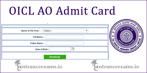 Download OICL AO Admit Card 2017 | Oriental Insurance AO Exam Date @ orientalinsurance.org.in