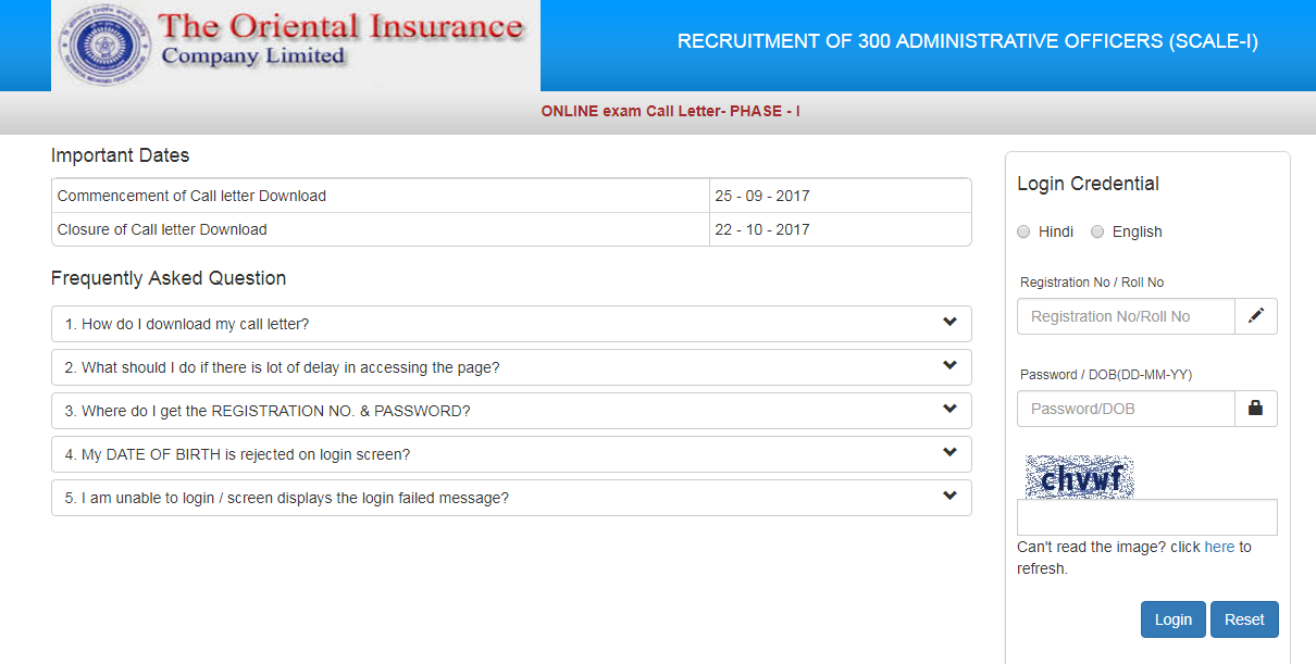 Download OICL AO Admit Card 2021 | Oriental Insurance AO Exam Date @ orientalinsurance.org.in