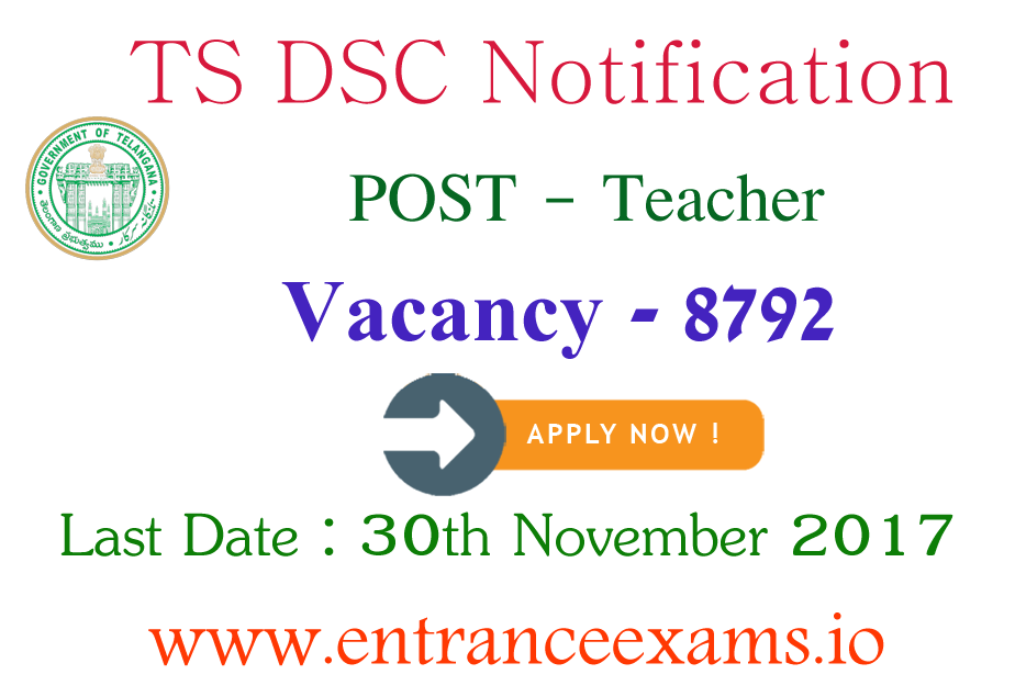 Telangana DSC Notification Date | TS DSC Teacher (TRT/TST) Posts @ www.tspsc.gov.in