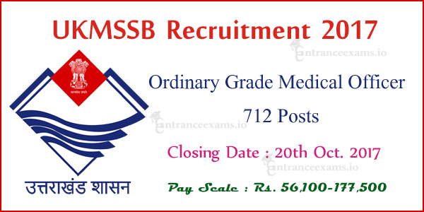 Uttarakhand MSSB Recruitment 2017 | Apply Online for 712 Medical Officer (MO) Jobs @ www.ukmssb.org