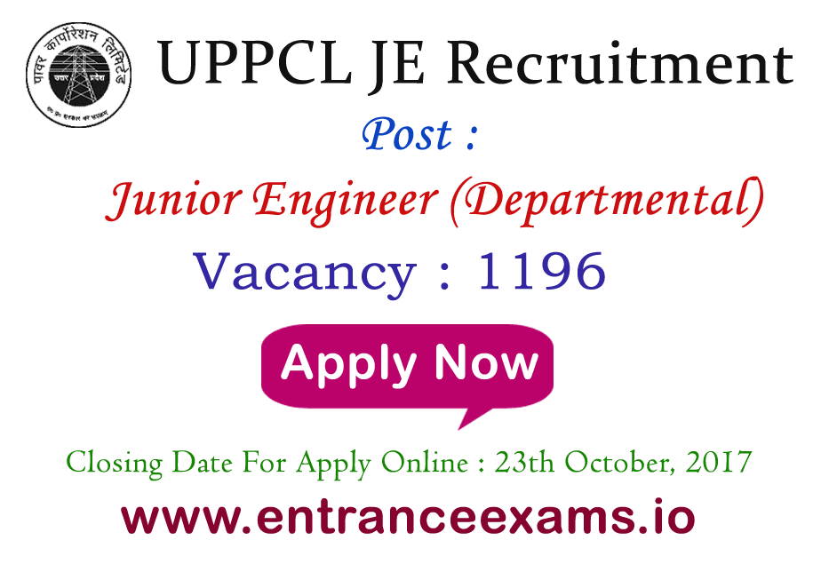 UPPCL Junior Engineer Recruitment 2021 | 1422 UPPCL JE Vacancy 2021 @ www.uppcl.org