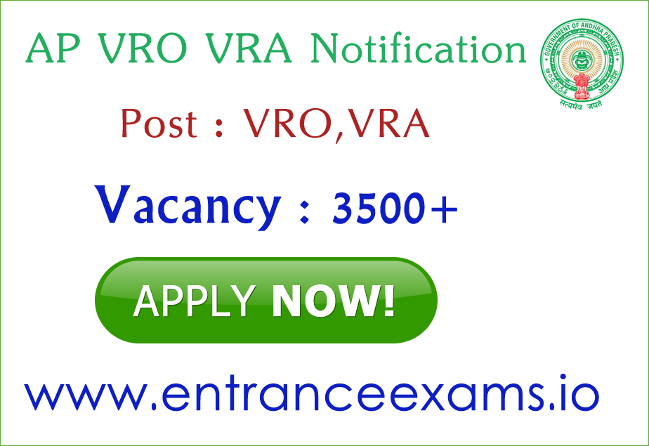 AP VRO VRA Recruitment Notification 2017 Apply Online   3914 Andhra Pradesh Revenue Department Jobs