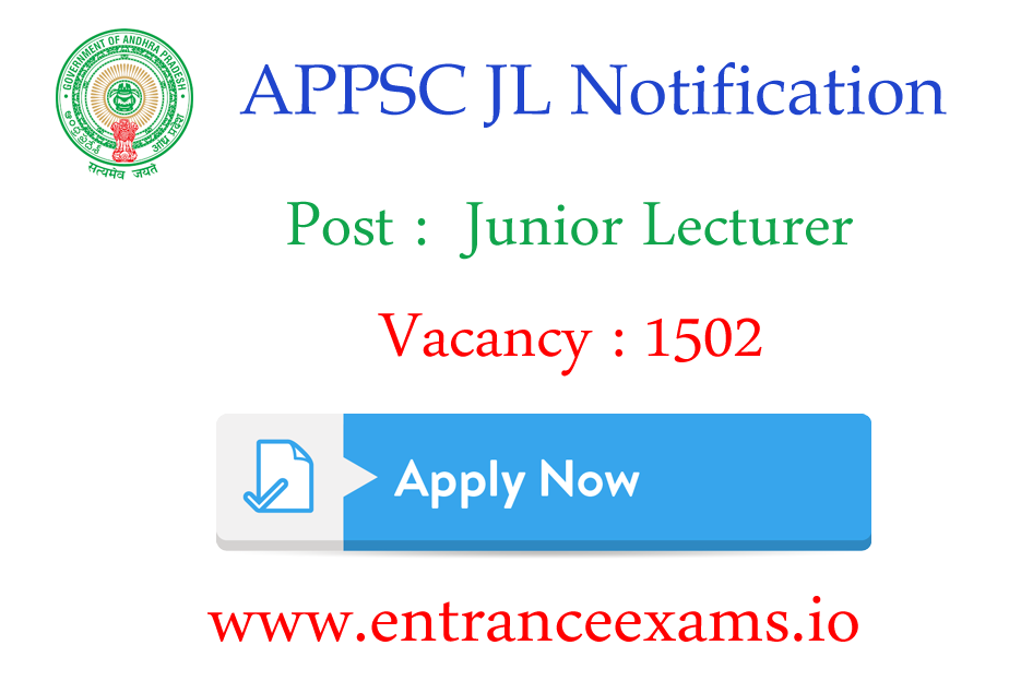 APPSC Junior Lecturers Notification 2017 PDF | Apply for 1502 AP JL Vacancy