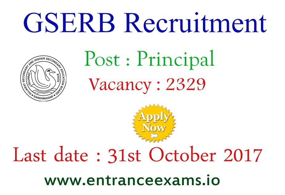GSERB Bharti 2017 Notification | Apply Online for 2329 Gujarat Principal (प्रधान अध्यापक) Jobs