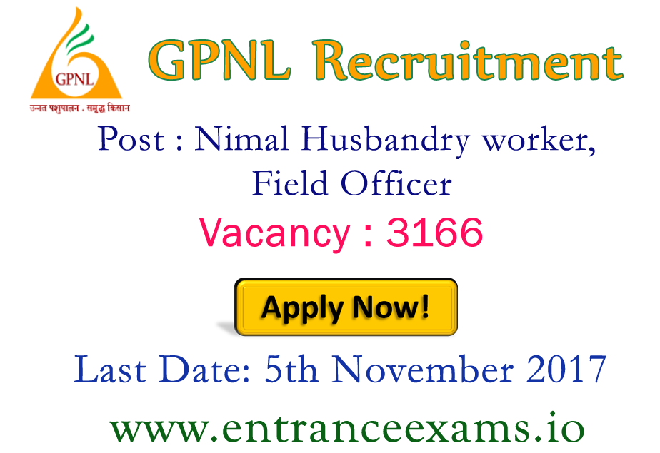 GPNL Rajasthan Recruitment 2021   3166 Animal Husbandry Worker, Field Officer posts