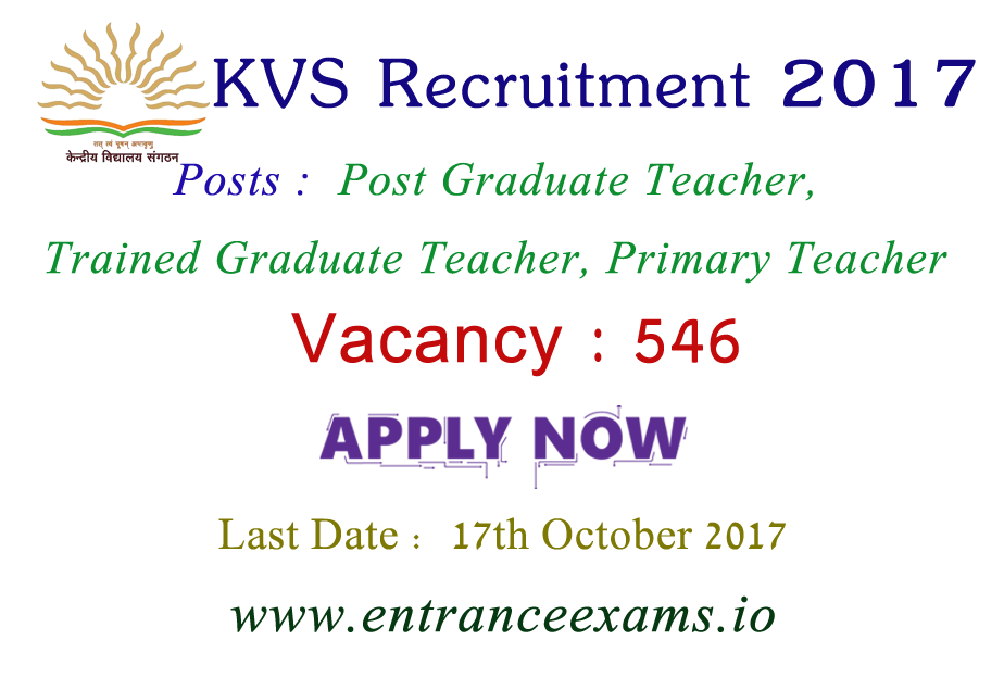 KVS Teacher Recruitment 2017 | Apply for 546 PGT TGT PRT Vacancy in KVS Sangasthan