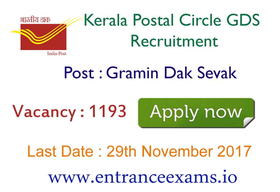 Kerala Postal Circle Recruitment 2017   Apply for 1193 India Post GDS Jobs