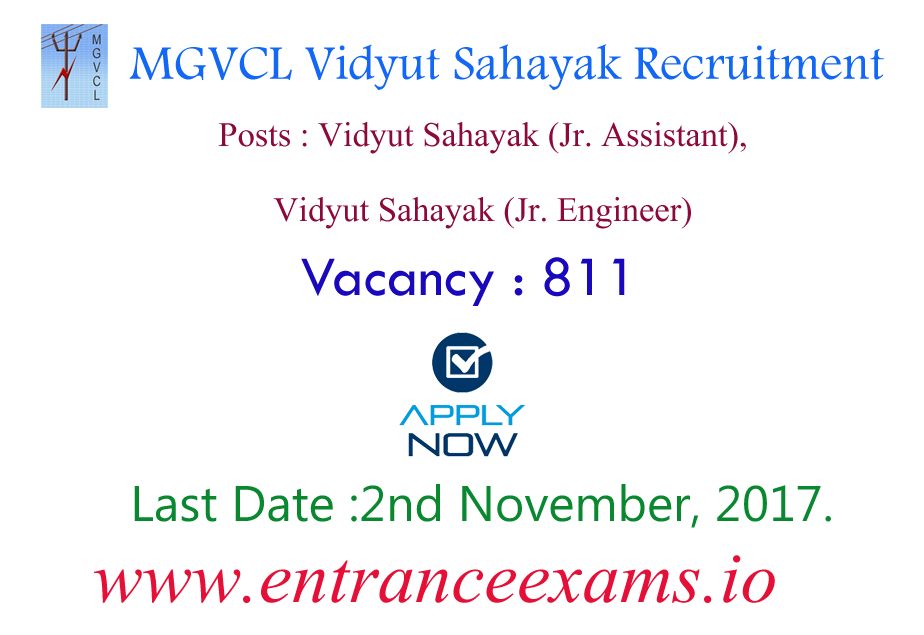 MGVCL Junior Assistant Recruitment 2017   811 Vidyut Sahayak Jobs in GUVNL, UGVCL, PGVCL, DGVCL & GSECL