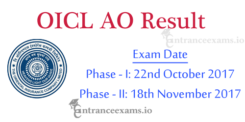 OICL Administrative Officer Result 2017   Oriental Insurance AO Prelims & Mains Result